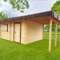 Abri 9-151 en bois de 25m²+ 8m² en madriers de 60mm
