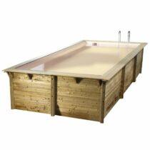 Piscine 45 en bois rectangulaire de 500×800 avec le liner beige /Disponible début 2022