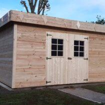 Abri 9-117 de jardin bois en madrier de 28 mm avec couverture bac acier de 16 m2