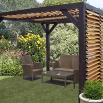 Pergola 9-25 en bois de 10.86m² avec ventelles réglables sur le toit et un côté en épicéa