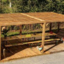 Pergola 9-47 en Bois d'Épicéa Traité THT avec sa Couverture en Ventelles Mobiles de 20 m² + 2 ventelle sur 2 côtés