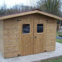 Abri 50 de jardin en bois en panneaux de 19 mm de 10.33m²/7.04 m²+ couverture plaques ondulées
