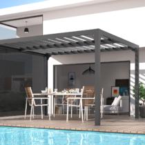 Pergola 9-66 de 10m² bioclimatique structure ALUMINIUM ouverture manuelle + Rideau intégré