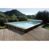 Piscine 42 en bois rectangulaire de 350 x 650 x H 140 cm liner beige /Disponible début 2022