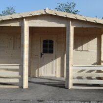 Abri/Chalet 9-158 de 29m²+ sa terrasse de 8m² en madriers massifs de 42 mm