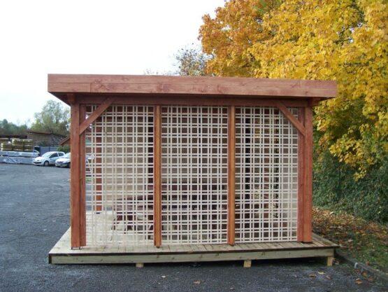 Pergola 9-18 plat de 12m² avec sa couverture bac acier + treillage en bois