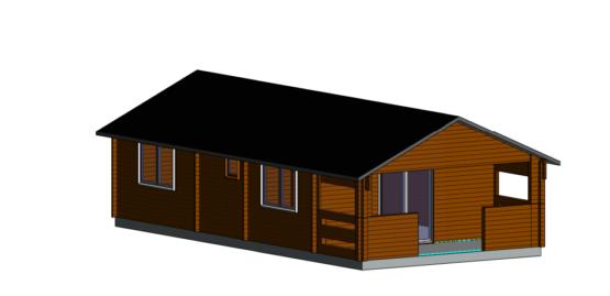 Chalet «Sigues» de 50m²avec sa terrasse en madriers massifs de 44mm avec sa couverture toiture et son plancher