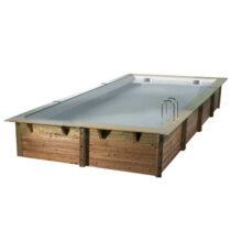Piscine 46 en bois rectangulaire de 500×800 avec le liner gris /Disponible début 20200
