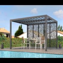 Pergola 9-61 bioclimatique structure ALUMINIUM ouverture manuelle de 7.20m² + panneau en acier de 3m