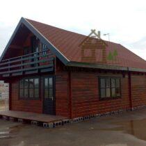 Chalet 54-44 en bois de 54m²/41m²RCH + 43m² en madriers massifs de 68mm avec sa couverture en tuiles bitumées