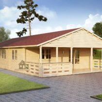 Chalet 88-44en bois de 96m²/88m²+14.5m² de terrasse en madriers massifs de 44mm avec sa couverture en tuiles bitumées