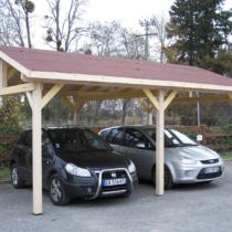 Carport 9-34 en bois pour deux voitures de 22.85 m² avec son toit double pente et sa couverture toiture en bardeaux bitumés