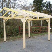 Carport 9-28 double pente de 10.85m² sans couverture toiture.
