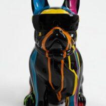 Statue bouledogue Français avec écharpe trash noir 35 cm 4