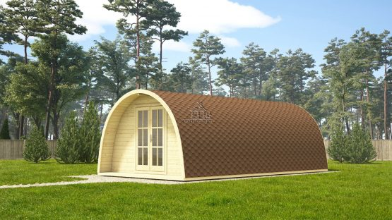 09 Abri Pod de 28 m2 en madriers massifs de 44 mm avec sa couverture en tuiles bitumées