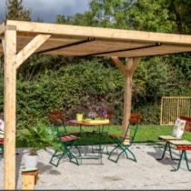 Pergola 9-23 de 10.60m² en bois lamellé collé avec ventelles sur le toit en Epicéa