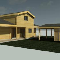 Maison 8 réalisée sur mesure en double 44mm avec étage de 115 m² + Garage (en option)