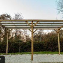 Carport 8 à toit plat pour une voiture de 15 m² traité Autoclave avec sa couverture en PVC transparente