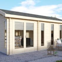Abri/Chalet «Manigance» de 24m² en madriers de 44mm + Couverture toiture en tuiles bitumées + Plancher Destockage